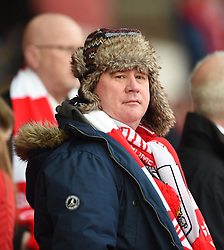 Spectator at the FA Cup fourth round match between Bristol City and West Ham United at Ashton Gate on 25 January 2015 in Bristol, England - Photo mandatory by-line: Paul Knight/JMP - Mobile: 07966 386802 - 25/01/2015 - SPORT - Football - Bristol - Ashton Gate - Bristol City v West Ham United - FA Cup fourth round