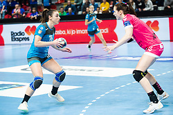 Zulic Nina of RK Krim Mercator and Gros Ana of Brest Bretagne during handball match between RK Krim Mercator and Brest Bretagne Handball  in 2nd main round of Women's DELO EHF Champions League 2019/20, on February 2, 2020 in Kodeljevo, Ljubljana,  Slovenia. Photo Grega Valancic / Sportida