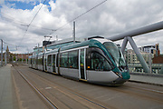 A Nottingham Express Transit (NET) tram heading towards Clifton South in Nottingham, Nottinghamshire, United Kingdom. The tram network in Nottingham has 51 stops and provides an alternative, more sustainable mode of transport for commuters and tourists.  (photo by Andrew Aitchison / In pictures via Getty Images)