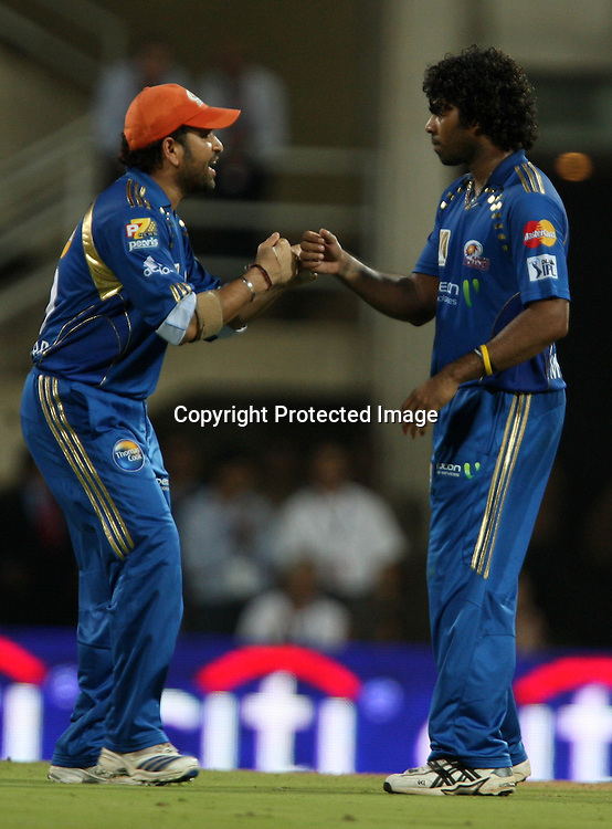 Sachin Tendulkar and Lasith Malinga, Indian Premier League twenty20 cricket final, Mumbai Indians v Chennai Super Kings, 26 April 2010.