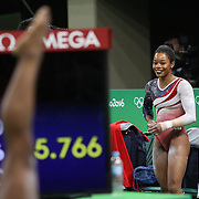Gymnastics - Olympics: Day 4   Gabrielle Douglas of the United States reacts to her score after performing her routine on the Horizontal bar during the Artistic Gymnastics Women's Team Final at the Rio Olympic Arena on August 9, 2016 in Rio de Janeiro, Brazil. (Photo by Tim Clayton/Corbis via Getty Images)
