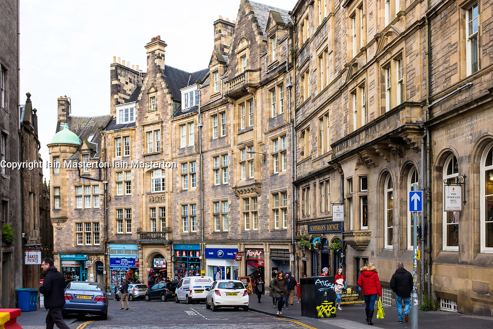 View along Cockburn Street in Old Town of Edinburgh, Scotland, United Kingdom
