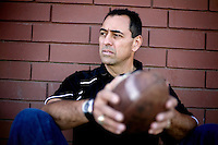 """George Visger, 51, of Grass Valley, Ca., has severe short-term memory loss due to multiple head injuries, however retains a better long-term memory. Visger says there are years that really don't exist. """"I don't really remember them happening."""" Visger survived 9 brain surgeries, caused by concussions incurred throughout his playing career. His first one in 1981, when he turned 23 years old. He keeps daily notes in a yellow notebook and has about three boxes full of notebooks that date back to 1990. ..He works with the Coaches Concussion Clinic, the Brain Injury Association and the Hydrocephaleus Association to increase awareness of concussion-related injuries. ..Visger was a scholarship player for the University of Colorado Buffalos on the 1977 Orange Bowl team, and a 1980 6th round draft pick who played for the San Francisco 49ers, earning a Super Bowl ring for the 1981 Super Bowl Championship."""