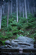 A statue at the Shikoku Pilgrimage, 88 temples associated with the Buddhist monk Kūkai (Kōbō Daishi) on the island of Shikoku, Japan.