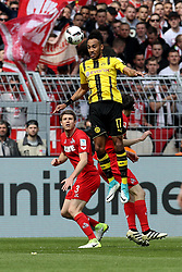 DORTMUND, April 30, 2017  Pierre-Emerick Aubameyang(Top) of Borussia Dortmund heads the ball during the Bundesliga soccer match between Borussia Dortmund and 1.FC Cologne at the Signal Iduna Park in Dortmund, Germany on April 29, 2017. The match ended in a 0-0 draw. (Credit Image: © Joachim Bywaletz/Xinhua via ZUMA Wire)