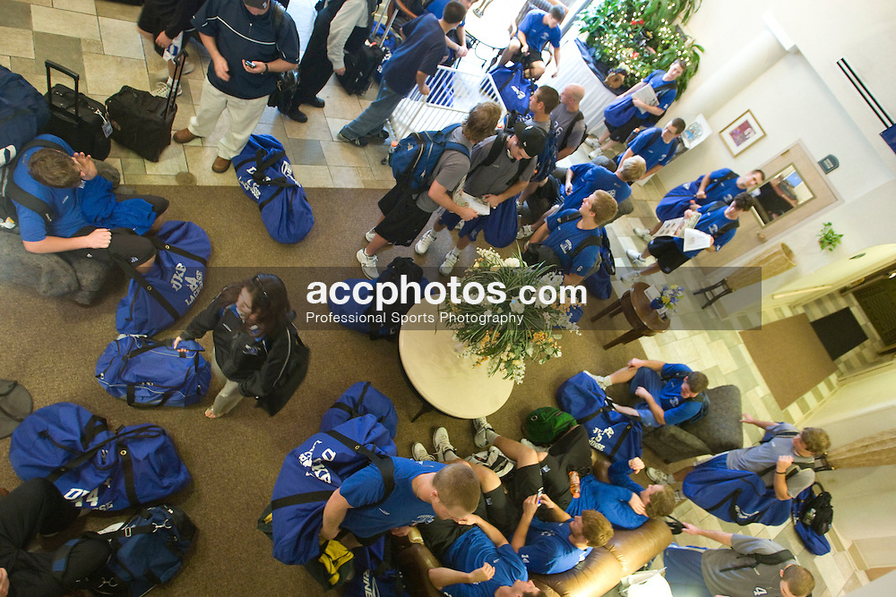 17 May 2008: Duke Blue Devils arrive at their hotel before playing the Ohio State Buckeyes the next day during the NCAA quarterfinals held at Cornell University in Ithaca, NY.