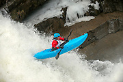 Adam Frey, Vermont Paddlers Club kayak racing at Bartlett Falls on the New Haven River in Lincoln, Vermont.