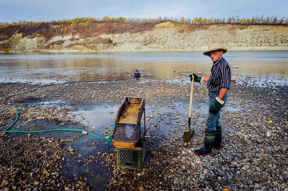 Gold Panning, North Saskatchewan River, Alberta Canada