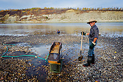 Gold Panning, North Saskatchewan River, Alberta Canada