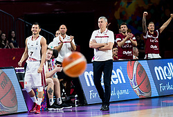 Janis Blums of Latvia, Ainars Bagatskis, head coach of Latvia during basketball match between National Teams of Latvia and Montenegro at Day 11 in Round of 16 of the FIBA EuroBasket 2017 at Sinan Erdem Dome in Istanbul, Turkey on September 10, 2017. Photo by Vid Ponikvar / Sportida