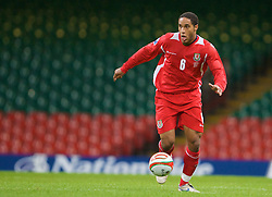CARDIFF, WALES - Friday, September 5, 2008: Wales' Ashley Williams in action against Azerbaijan during the opening 2010 FIFA World Cup South Africa Qualifying Group 4 match at the Millennium Stadium. (Photo by David Rawcliffe/Propaganda)