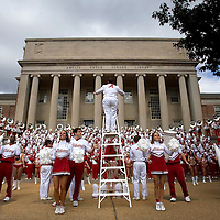 TUSCALOOSA, AL -- October, 24, 2009 -- The University of Alabama Million Dollar Band, cheerleaders, Crimsonettes, and color guard perform during a pep rally in front of the Amelia Gayle Gorgas Library prior to the Crimson Tide's 12-10 victory over the University of Tennessee Volunteers at Bryant-Denny Stadium in Tuscaloosa, Ala., Saturday, Oct. 24, 2009.