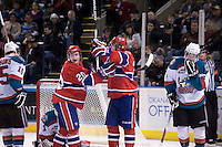 KELOWNA, CANADA, DECEMBER 27: Steve Kuhn #20 of the Spokane Chiefs celebrates a goal at the Kelowna Rockets on December 7, 2011 at Prospera Place in Kelowna, British Columbia, Canada (Photo by Marissa Baecker/Getty Images) *** Local Caption ***