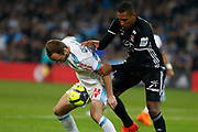 Valere Germain of Olympique de Marseille and Marcelo of Olympique Lyonnais during the French Championship Ligue 1 football match between Olympique de Marseille and Olympique Lyonnais on march 18, 2018 at Orange Velodrome stadium in Marseille, France - Photo Philippe Laurenson / ProSportsImages / DPPI