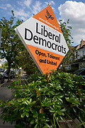 A general election placard for the Liberal Democrats political party with the added word 'lying' outside a house in Dulwich, Southwark, on 1st June 2017, in south London, England.