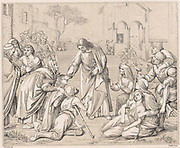 Jesus healing the multitudes. Wood engraving c1880. 'Bible' New Testament