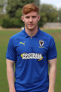 AFC Wimbledon midfielder Alfie Eagan (28) during the AFC Wimbledon 2018/19 official photocall at the Kings Sports Ground, New Malden, United Kingdom on 31 July 2018. Picture by Matthew Redman.