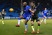 Gillingham FC forward Josh Parker (14) and Bristol Rovers defender Tom Lockyer(4) during the EFL Sky Bet League 1 match between Gillingham and Bristol Rovers at the MEMS Priestfield Stadium, Gillingham, England on 16 December 2017. Photo by Martin Cole.