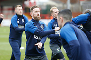 Scott Wagstaff of Wimbledon warming up during the EFL Sky Bet League 1 match between Accrington Stanley and AFC Wimbledon at the Fraser Eagle Stadium, Accrington, England on 1 February 2020.