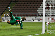 Picture by David Horn/Focus Images Ltd +44 7545 970036.30/08/2012.Dean Snedker of Northampton Town prevents Wolverhampton Wanderers scoring during the Capital One Cup match at Sixfields Stadium, Northampton.