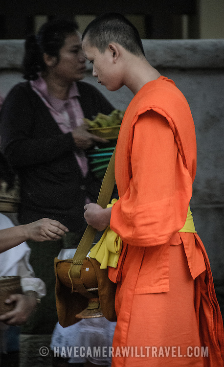 Buddhist monks and novices in their bright saffron robes walk in single file past locals and tourists offering food in an early morning ritual known as tak bat.