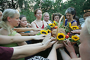 Wiccans encircle an altar of fruit and bread as day turns to night in Central Park. Wicca is a modern reconstruction of the pre-Christian nature-based religions of Europe.