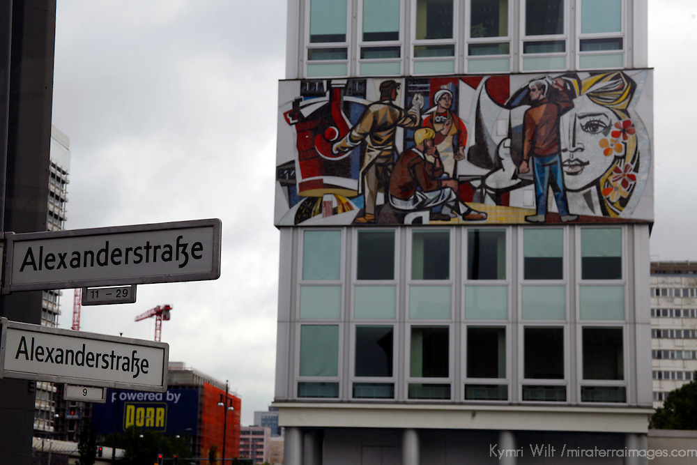 Europe, Germany, Berlin. Mural and Street Corner of (formerly East) Berlin.