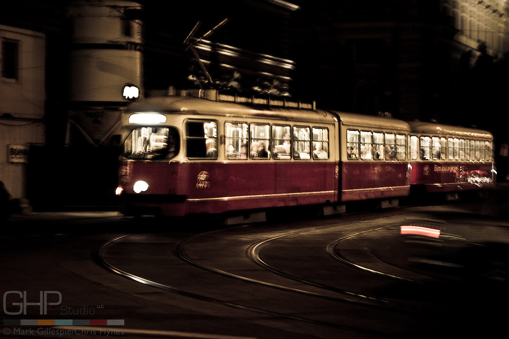Viennese street car at night.