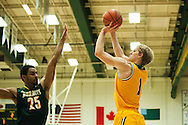 Vermont's Josh Hearlihy (1) takes a shot during the men's basketball game between the Lyndon State Hornets and the Vermont Catamounts at Patrick Gym on Saturday afternoon November 19, 2016 in Burlington (BRIAN JENKINS/for the FREE PRESS)