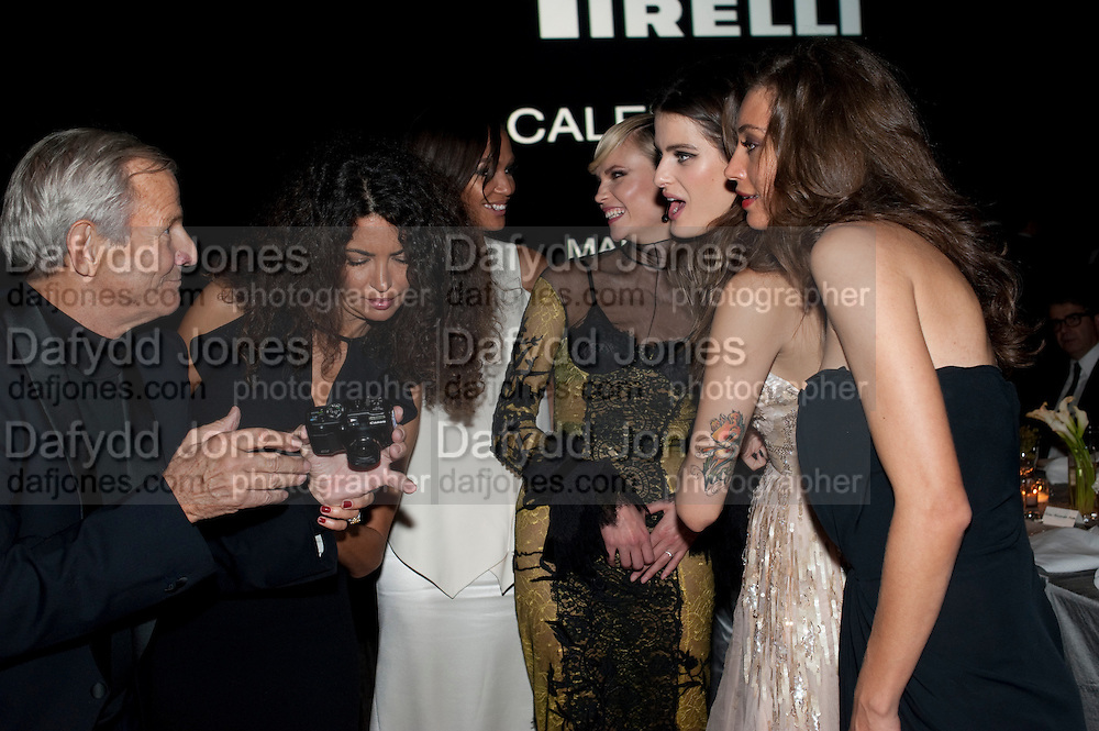 PETER BEARD;  Afef Tronchetti Provera; MARGARET MADE; ISABEL FONTANA; NATASHA Poll, , The Global launch of the 2012 Pirelli Calendar by Mario Sorrenti.  Dinner at the Park Avenue Armory. Manhattan. 6 December 2011.