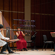 "February 18, 2012 - New York, NY : .From left, Fuyuhiko Sasaki, on kugo, Kyoko Kato, on hokoyo, and Takeshi Sasamoto, on haisho, perform Maki Ishii's 'Chronology 1200' (1994) during ""Resonances of the Kugo,"" part of the 2012 New York Music From Japan Festival, at Merkin Concert Hall on Saturday. .CREDIT: Karsten Moran for The New York Times"