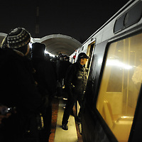 Passengers have to vacate an over filled Washington Metro subway car at 4:37AM as too many riders tried to jam into the subway car for the ride into Washington, D.C. for the inauguration of Barack Obama as he is sworn in as the 44th President of the United States of America on Capitol Hill in Washington on January 20, 2009.    (Mark Goldman/ Goldmine Photos)