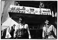 ERBIL, KURDISTAN, IRAQ, JUNE 1994. Armed forces of the Iraqi National Congress (INC) guard the Shireen Hotel where the leaders of the KDP and PUK hold peace negotiations . The INC is a coalition of all opposition to Saddam Houssein and is based in Northern Iraq. Kurdish factions have been fighting over control of the Kurdish Autonomous Region in Northern Iraq.  ©Photo by Frits Meyst/NewsImages