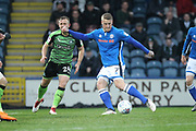 Steven Humphrys shoots during the EFL Sky Bet League 1 match between Rochdale and Plymouth Argyle at Spotland, Rochdale, England on 24 April 2018. Picture by Daniel Youngs.