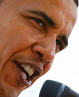 US Democratic presidential candidate and US Senator Barack Obama, (D-IL), speaks in Mitchell, South Dakota June 1, 2008. REUTERS/Rick Wilking (UNITED STATES) US PRESIDENTIAL ELECTION CAMPAIGN 2008 (USA)