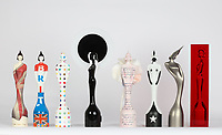 """The BRIT Awards 2011-2018,The BRIT Awards revealed the 2018 BRIT Award, created by acclaimed sculptor Sir Anish Kapoor. <br /> The BRIT Awards has an eight-year tradition of inviting iconic British artists to design the Award, and we've seen all manner of wonderful interpretations. But Kapoor's reimagined Britannia, cast and encased in a solid block in the artist's signature blood red hue is special; like nothing we've seen before. He told journalists, """"I am pleased to have designed the BRIT award for 2018. Sculpture is often a process of positive and negative form. I have made the award using both.""""<br /> <br /> From Left to Right:<br /> 2011 Dame Vivienne Westwood<br />2012 Sir Peter Blake<br />2013 Damien Hirst<br />2014 Philip Treacy<br />2015 Tracey Emin CBE<br />2016 Pam Hogg<br />2017 Dame Zaha Hadid<br />2018 Sir Anish Kapoor<br /> <br /> <br /> Photo:John Marshall/JM Enternational"""