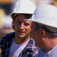 Construction workers Roy Mallow (left) and Gair Mullemnex at an Alexandria, VA construction site. Releases available.