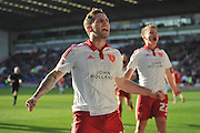 Sheffield United forward Billy Sharp (10) celebrates scoring goal to go 3-2 up during the Sky Bet League 1 match between Sheffield Utd and Crewe Alexandra at Bramall Lane, Sheffield, England on 25 March 2016. Photo by Ian Lyall.