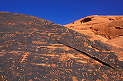 Anasazi petroglyphs on sandstone, Valley of Fire State Park, Nevada USA