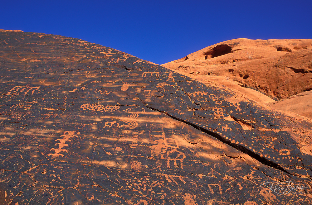 Anasazi petroglyphs on sandstone, Valley of Fire State Park, Nevada USA