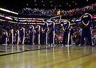 May 25, 2010; Phoenix, AZ, USA; Los Angeles Lakers line up for the national anthem prior to game four of the western conference finals in the 2010 NBA Playoffs at US Airways Center.  The Suns defeated the Lakers 115 - 106.   Mandatory Credit: Jennifer Stewart-US PRESSWIRE