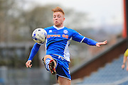 Callum Camps scores for Rochdale 1-0 during the Sky Bet League 1 match between Rochdale and Doncaster Rovers at Spotland, Rochdale, England on 2 April 2016. Photo by Daniel Youngs.