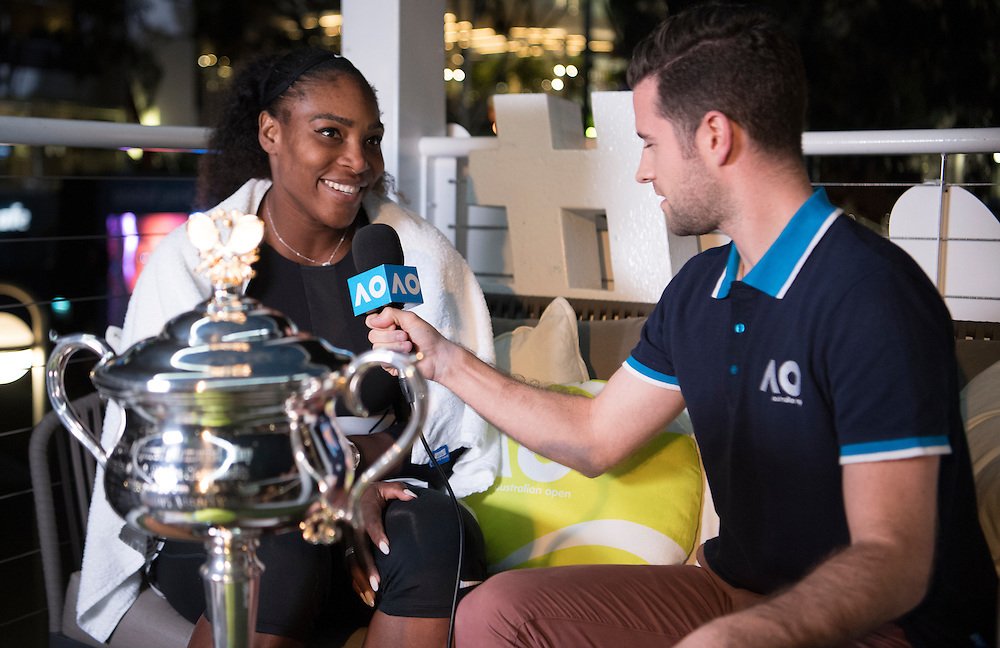 Serena Williams in the Twitter Blue Room after the women's final on day thirteen of the 2017 Australian Open at Melbourne Park on January 28, 2017 in Melbourne, Australia.<br /> (Ben Solomon/Tennis Australia)