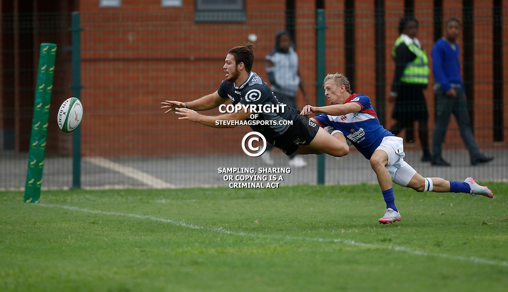 DURBAN, SOUTH AFRICA, 23, April 2016 - Neil Maritz of the Cell C Sharks XV is away from Riaan van Zyl of the Windhoek Draught Welwitschias to go over for a try during the  Currie Cup Qualifiers match between The Cell C Sharks XV vs Windhoek Draught Welwitschias,King Zwelithini Stadium, Umlazi, Durban, South Africa. Kevin Sawyer (Steve Haag Sports) images for social media must have consent from Steve Haag