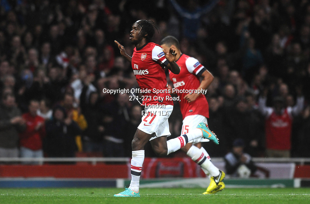 03/10/2012 - UEFA Champions League Football - Group Stage - 2012-2013 - Arsenal v Olympiacos - Gervinho celebrates after he scores the first goal of the game for Arsenal. - Photo: Charlie Crowhurst / Offside.