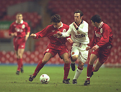LIVERPOOL, ENGLAND - Tuesday, January 7, 1997: Liverpool's Nicky Rizzo in action against Manchester United during the FA Youth Cup match at Anfield. United won 2-1. (Pic by David Rawcliffe/Propaganda)