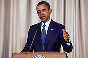 18 NOVEMBER 2012 - BANGKOK, THAILAND:  US President Barack Obama at the joint press conference with Prime Minister Shinawatra in Government House on November 18, 2012 in Bangkok, Thailand. Obama will become the first serving US President to visit Myanmar during his four-day tour of Southeast Asia that will also include visits to Thailand and Cambodia.     PHOTO BY JACK KURTZ
