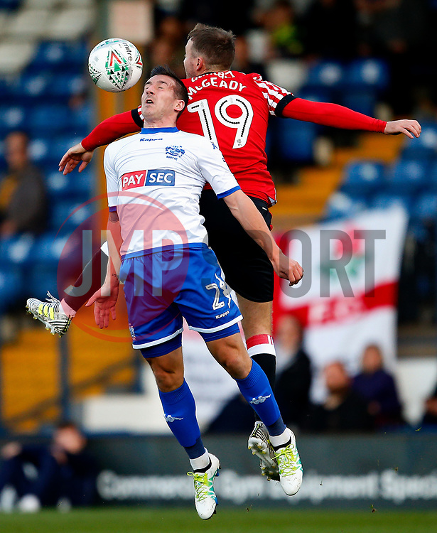 Craig Jones of Bury challenges Aidan McGeady of Sunderland - Mandatory by-line: Matt McNulty/JMP - 10/08/2017 - FOOTBALL - Gigg Lane - Bury, England - Bury v Sunderland - Carabao Cup - First Round