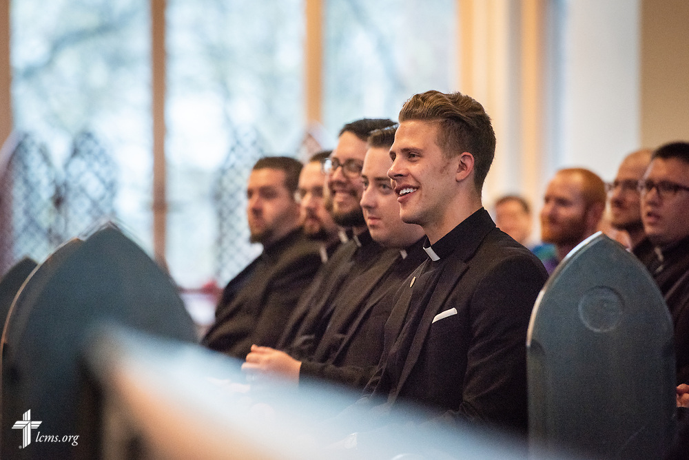 Pastoral candidates listen as the Rev. Dwayne Lueck, president of the LCMS North Wisconsin District, preaches at the Service of Praise with Assignment of Calls in the Chapel of St. Timothy and St. Titus at Concordia Seminary, St. Louis, on Tuesday, April 24, 2018. LCMS Communications/Erik M. Lunsford