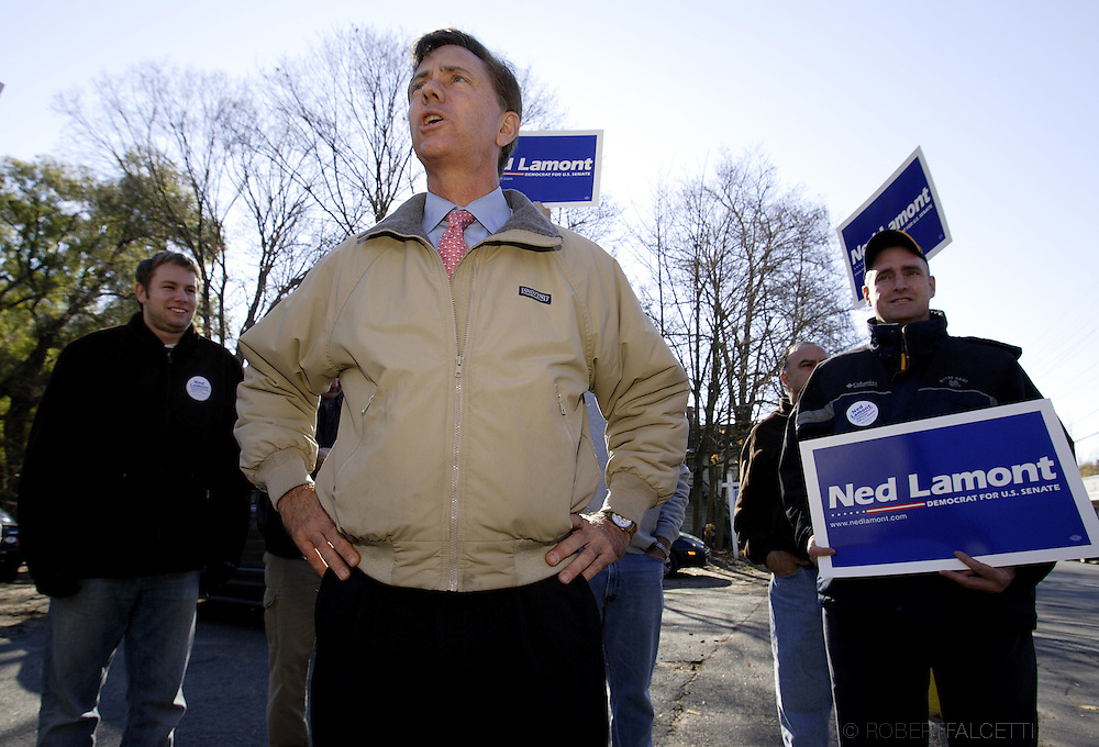 "WATERBURY, CT -  NOVEMBER 4:  Democratic Senate candidate Ned Lamont speaks to supporters November 4, 2006 in Waterbury, Connecticut. Lamont is in a tight race against incumbent Sen. Joe Lieberman (D-CT). On Primary night August 7 Lamont campaign manager Tom Swan said,""Waterbury are where the forces of slime meet the forces of evil."", after Sen. Joe Lieberman won the city.  (Photo by Bob Falcetti/Getty Images)"